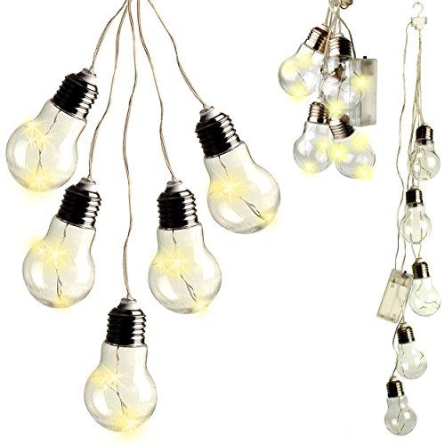 Weiße Led-licht-strang (alles-meine.de GmbH 15 - LED Lichterkette -  Glühbirnen - warm weiß  - Batterie betrieben - Strang - Lampen mit Licht - elektrisch kabellos - Kunststoff / Plastik - Dekolicht -..)