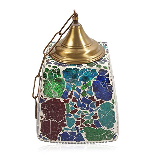 TJC Home Decor Multicolour Mosaic Glass Hanging Lamp Iron Fixture Electric Fitting