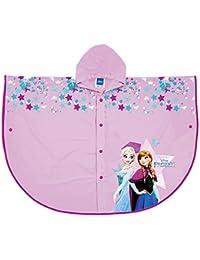 PERLETTI Poncho Impermeable Disney Frozen - Chubasquero de Lluvia para Niña con Capucha y Botones - Estampado Anna y Elsa - Rosa