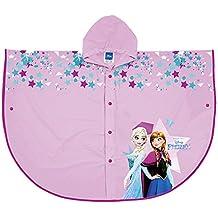 PERLETTI Poncho Impermeable Disney Frozen - Chubasquero de Lluvia para Niña con Capucha y Botones -