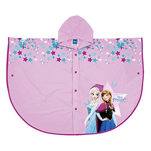 Cape de Pluie Disney Frozen - Poncho Pluie Impermeable Fille avec capuche et boutons - Manteau Coloré avec impression Anna et Elsa - Rose - Perletti (5-7)