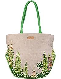 Ecotara Alpine Forest Designer Jute Cotton Sling Hand Bag - Green