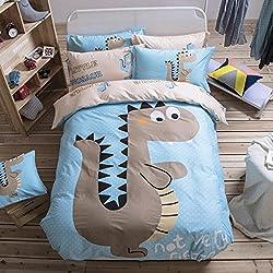 Cute Kids Cartoon dinosaurios juego de colcha, funda de edredón colcha funda de almohada, funda de edredón doble King size cama azul, 100% algodón, azul, Doublé