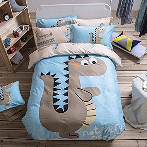 Cute Quilt Cover Set Kids ,Cartoon Dinosaurs Quilt Cover Bedspread Set Comforter Pillow Case Double King Size Bed Blue (Double)