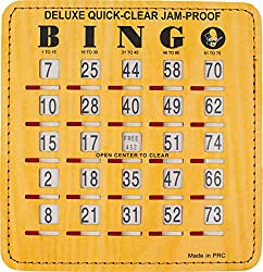Mr. Chips Bingo Slide Shutter Cards |Deluxe Jam Proof Quick Clear Rapid Slide Reset | Extra Thick Stitched Board | Easy Sliders with Big Tabs |Senior and Kids Friendly | 200 Pack | Wood Grain