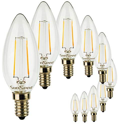 Kerze Lampe Olive (SunSeed® 10x Glühfaden LED Kerze Lampe E14 2W ersetzt 25W Warmweiß 2700K)