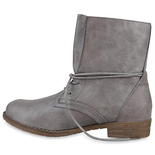 Damen Schnürstiefeletten Stiefeletten Lederoptik Modisch Schuhe Grau