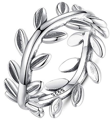 SaySure - 925 Sterling Silver Laurel Wreath Rings (SIZE : 7)