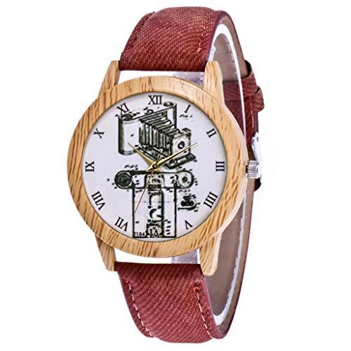 Frauen Uhr modische Blume Zifferblatt Quarzwerk Uhr Kaffee 2357 -