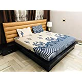 Magnetic Shadow Blue Floral Glace Cotton King Size Elastic Fitted Bedsheets