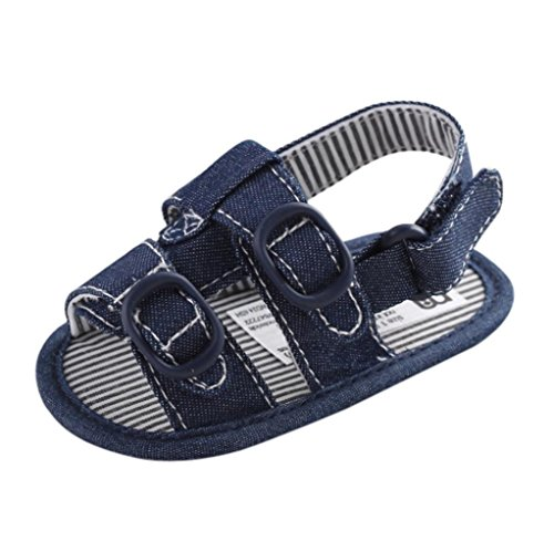 Koly_Ragazzo del bambino pattini della greppia Fiore morbida suola antiscivolo sandali del bambino Jean Sneakers (SIZE11, Blu)