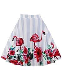 Lover-Beauty Falda Mujer Corto Vintage Hepbuern con Vestido Tutu Elegante para Fiesta y Diario como Paraguas S-XXL…