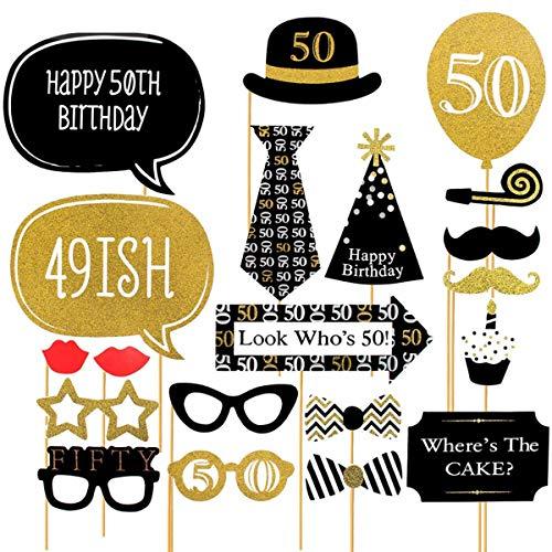 (Trimmen Shop Funny Photo Booth Party Requisiten für Kleid bis Zubehör, Hochzeit, Geburtstag, Weihnachten, Jahrestag, Thanksgiving Day, 20Stück -30th Geburtstag, Pappe, Multi, 50th)