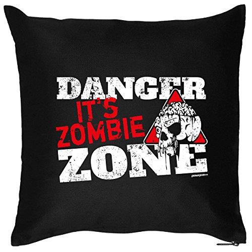 Ausgezeichnetes Deko-Kissen für Halloween Partys : DANGER, its ZOMBIE Zone ! cooles Motiv von Goodman Design
