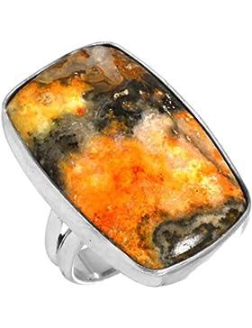 Solide 925 Sterling Silber Ring Natürliche Indonesisch Hummeln Biene Edelstein Neueste Schmuck Größe 50 (15.9)