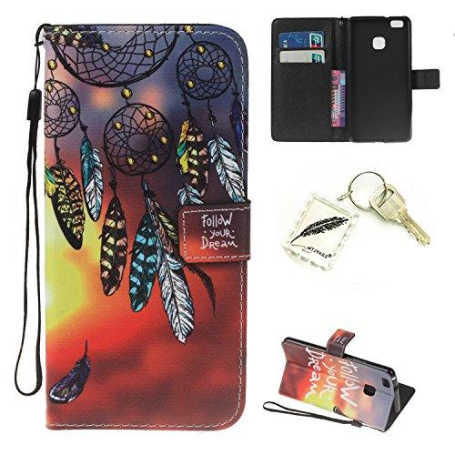 Preisvergleich Produktbild Silikonsoftshell PU Hülle für Huawei P9 Lite Tasche Schutz Hülle Case Cover Etui Strass Schutz schutzhülle Bumper Schale Silicone case+Exquisite key chain X1#KH (1)