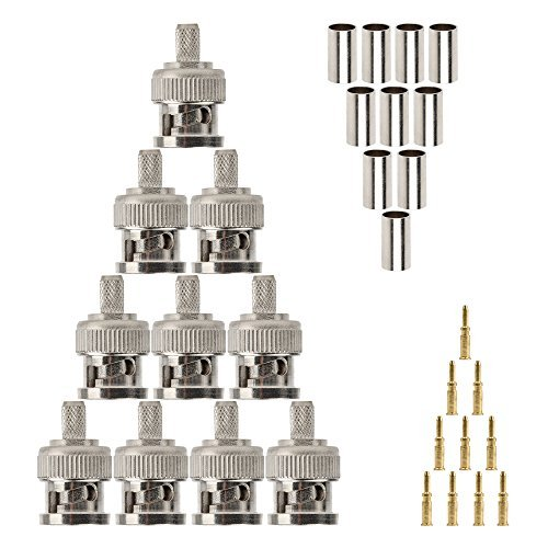 10pcs BNC-Stecker Crimp-Version für RG58, RG142, LMR195, RG400 Koax Stecker Bnc Koax Video