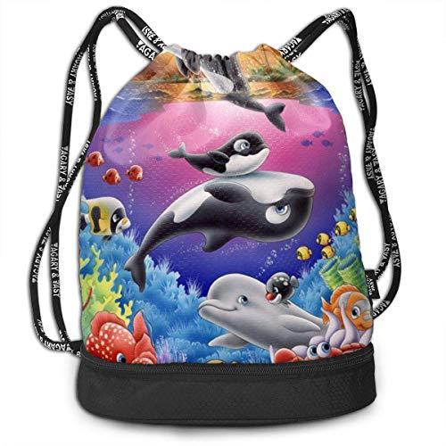 en Strahl Rucksack Cartoon Delphin Wal Tropische Fische Bunte Strahl Rucksack Basketball, Volleyball, Baseball String Bag Für Jungen Teenager Jugend, Weihnachtstag ()