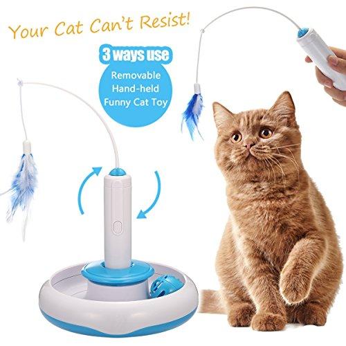 elektronisches katzenspielzeug Focuspet Katzen Federspielzeug, Interaktive Spielzeug Katze Elektrische Drehen Feder Spielzeug Katzenspielzeug Federangel Interaktives Katzenspielzeug Mit 360° Drehung Cat Toys Blau+Weiß