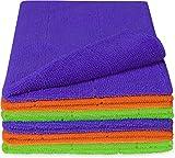 normani 6/12 Microfasertücher – Reinigungstuch, 40x30cm Premium Qualität für Haushalt,Küche, Bad, Auto und Felgen! Putztücher, fusselfrei und streifenfrei Farbe Grün/Lila/Orange Größe 6er Set