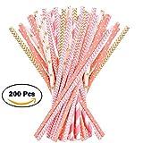 Papier Trinkhalme–200-pack Pink, Gold, und Pfirsich farbigen Fun Trinkhalme mit Coral Streifen, Polka Dot, und Star Designs von esdabem