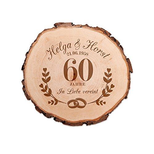 Casa Vivente Baumscheibe mit Gravur - Zur Diamant-Hochzeit - Personalisiert mit Namen und Datum - Aus Echtholz mit Rinde - Türschild und Wand-Deko - Geschenkidee für Paare zum 60. Hochzeitstag