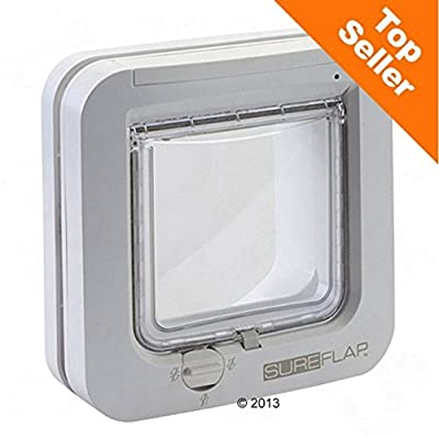 Battery-Powered Microchip Cat Flap - with 4-Way Locking System - Stores Up to 32 Pet Microchips - Perfect for Multi-Pet Homes