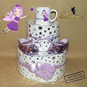 Windeltorte Zauberfee, individualisiert mit Namenstasse, bedruckt mit Fee bzw. Elfe und wunderschöne Babyschuhe, Balerina in lila und Haarband