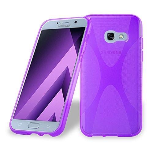 Preisvergleich Produktbild Cadorabo Hülle kompatibel mit Samsung Galaxy A3 2017 (7) Hülle in Flieder VIOLETT Handyhülle aus flexiblem TPU Silikon im X-Line Silikon Schutzhülle