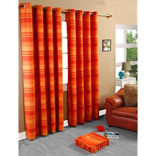 Homescapes 1 Pair Of Morocco Ribbed Stripe Curtains   Terracotta, 90 Inch  Drop, 100% Cotton Ready Made, Ring Top, 66 X 90 Inches