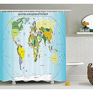 Yeuss Wanderlust – Cortina de ducha con ganchos, diseño de mapamundi con los países y ciudades de la tierra con los océanos y los lagos, tejido de poliéster