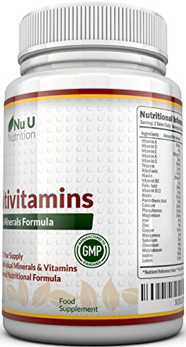 Multivitamins & Minerals Formula – 365 Tablets by Nu U Nutrition (Up to 1 Year Supply) – 24 Vitamins and Minerals for Men and Women. Suitable for Vegetarians