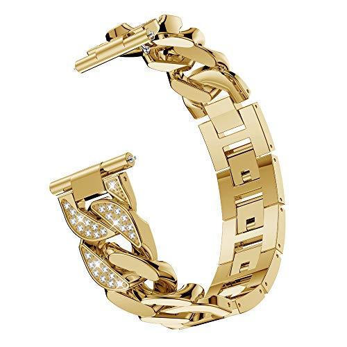 Für Fitbit Versa, Edelstahl Metall Kristall Uhrenarmband, Luxus Diamant Einreihige Cowboy Kette Bohrstahlband Handschlaufe Watch Band (Gold)