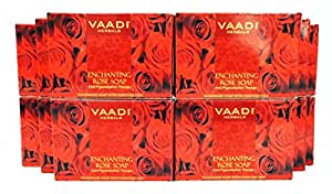 Red Rose Petal Bar Soap - Handmade Herbal Soap with 100% Pure Essential Oils - ALL Natural - Anti-pigmentation Therapy - Each 2.65 Ounces - Pack of 12 (32 Ounces