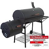 Smoker BBQ Grill XXL Grillwagen Holzkohlegrill, SEHR große Grillfläche, massive 57 kg, Maße 160 x 124 x 70 cm, schwarz