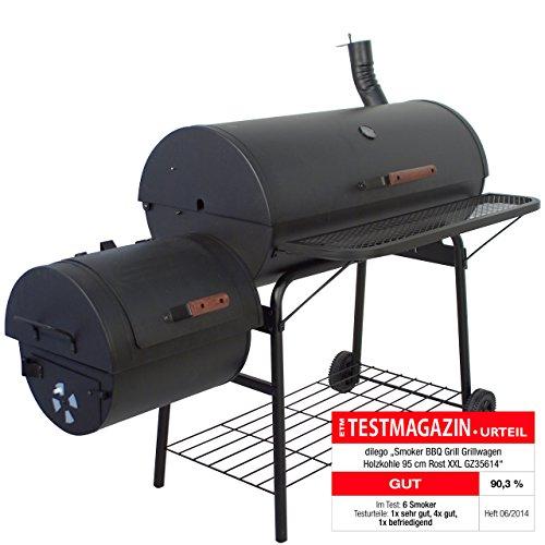 Smoker BBQ Grill XXL Grillwagen Profi Holzkohlegrill SEHR große Grillfläche massiv 57 kg 160 x 124 x 70 cm, schwarz Barbecue Feuerkammer Grillkammer räuchern