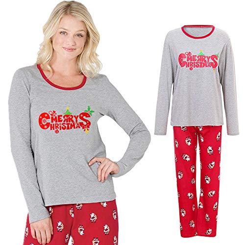 Honestyi Frauen Mama Weihnachtsmann Tops Bluse Hosen Familie Pyjamas Passende Weihnachten Set(Grau,M)