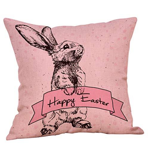 Happy-day Osterdekoration, Kissenbezüge, 45 x 45 cm, Sofa-Bett, Heimdekoration, Festival, Kissenbezug, Flax, Multicolor16, ✿