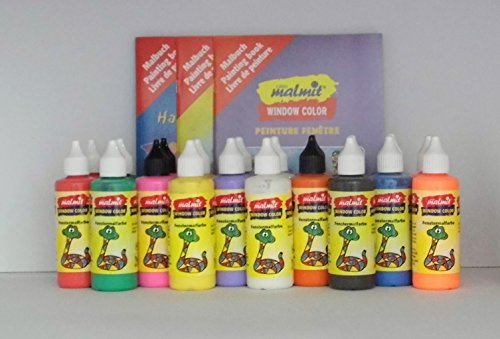 20er Set Window Color: 10 x 2 Flaschen, 80 ml + 50 Vorlagenbögen + 3 Malhefte + 3 Ersatz-Düsen - Qualität aus deutscher Produktion