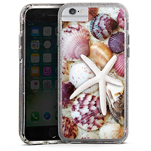 Apple iPhone 7 Plus Bumper Hülle Bumper Case Glitzer Hülle Muscheln Seestern Strand Bumper Case Glitzer rose gold