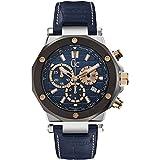 Guess X72025G7S-Montre pour Hommes, Bracelet en Cuir Couleur Bleu