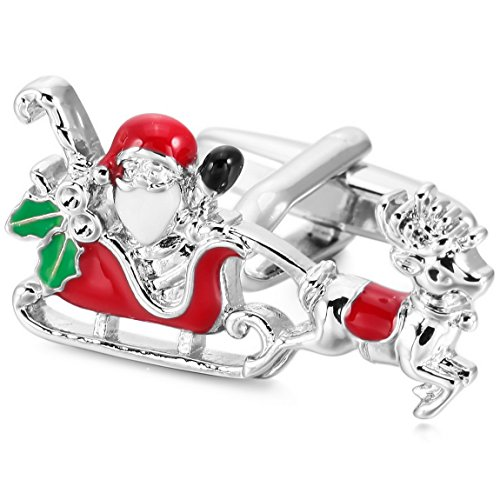 INBLUE Herren Manschettenknöpfe rhodiniert Emaille Rot Grün Silber Ton Santa Claus Hemd Hochzeit Business 2 Stück