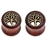 PiercingJ Paar Sono Holz Flesh Plug 8-20mm Double Flared Sattel Tunnel Plugs Ohrstecker Ohrpiercing Hohl Dreamcatcher mit Metall Baum des Lebens Braun (Gauge 10mm)