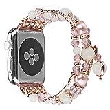 HROIJSL Kompatibel Apple Watch 38mm / 40mm Serie 4 3 2 1 Handgemachtes Nachtleuchtarmband Leuchtendes Achatband