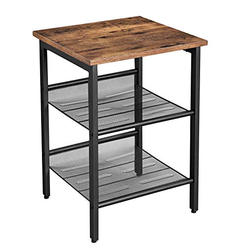 VASAGLE Beistelltisch, Nachttisch mit 2 verstellbaren Gitterablagen, Couchtisch im Industrie-Design, für Wohnzimmer, Schlafzimmer, Flur, Büro, stabil, einfacher Aufbau, Vintage, dunkelbraun LET23X