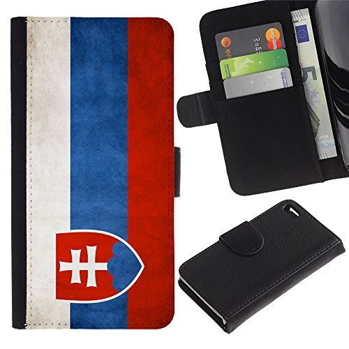 Graphic4You Vintage Uralt Flagge Von Italien Design Brieftasche Leder Hülle Case Schutzhülle für Apple iPhone 4 und 4S Slowakei Slowakisch