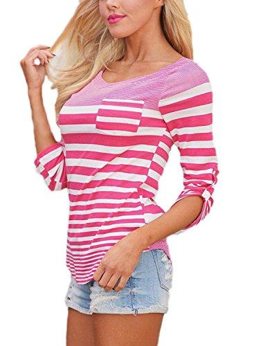 Dearlove, lässiges, gestreiftes Damen-Rundhals-Oberteil, 3/4-arm-Shirt rosa / weiß