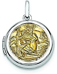 Sterling Silver With Gold-Flashed20mm Round St. Christophers Locket