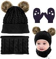CheChury Niños Sombrero y Bufanda Conjunto Unisex Niños Niñas Invierno Bebe Gorros con Pompon Y Bufanda de Pun