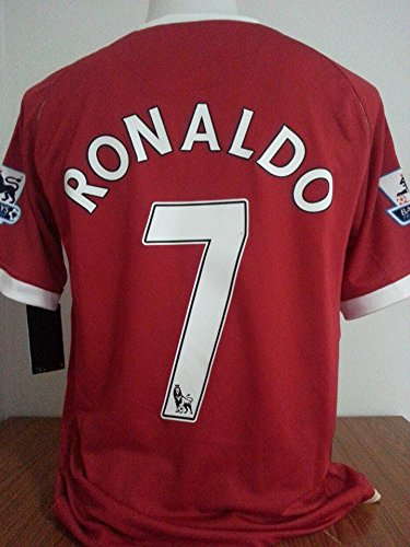 Brook Ronaldo#7 Manchester United Home Retro Soccer Jersey 2006-2007 Full English Premier League Patch (Red, L)